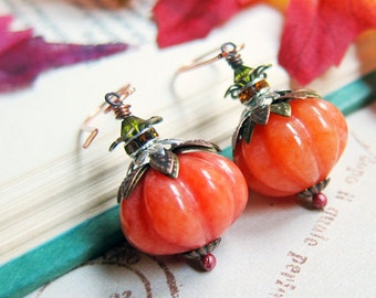 Sihaya Designs Pumpkin Earrings - Serpentine Pumpkins in Copper - Halloween Pumpkin Jack O'Lantern Jewelry
