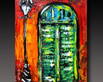 NEW ORLEANS Painting B. Sasik Original Oil  Painting  Palette Knife Painting
