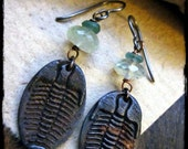 Rustic earrings, Trilobite Stamped Rustic Steel Faceted green prehnite Ancient Roman glass Hypoallergenic - Ancient Seas