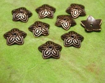 24pc 11mm antique copper nickel lead free bead cap-1958