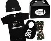 Punk Rock Baby Boy Rockstar Kit black creeper onesie leg warmers hat Bib T-shirt shirt Flying V Guitar Little Metalhead Metal Skulls