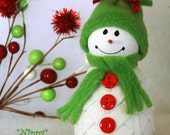 """Nippy"""" Quilted Fabric Snowman Ornament Kit and Pattern"""