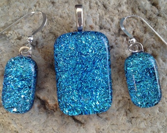 Blue Crinkle Fused Dichroic Art GlassJewelry Matching Earrings Pendant Set FREE shipping and necklace