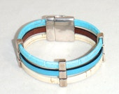Turquoise Blue and Cream and Turquoise Blue Leather and Cork with Pewter Cuff Bracelet