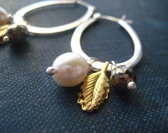Hoop Earrings, Sterling Silver Hoops, Charm Earrings, Natural Pearl, Pyrite Gem, Golden Leaf, Mixed Metals, Charm Dangles, Pyrite Beads