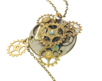 Gears  ... Steampunk Gear Pocket Watch Movement Pendant , Victorian Gear Steampunk Necklace, One of a Kind