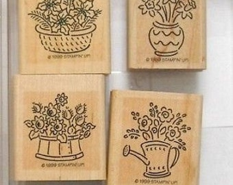 Stampin up BITTY BOUQUETS 4 pc stamp set used flower bouquet watering can vases