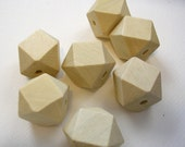 Geometric Faceted Cube Wooden Beads (WB52A) 50 Unfinished Unpainted Light Wood Geometric Beads 20mm for Crafts Jewelry