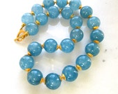 Outstandingly Beautiful Aquamarine Bold 22kg Vermeil Embellished Focal Necklace...
