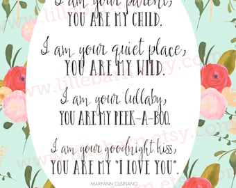 You Are My Child printable quote,  typography poster, home decor - 11 x 14 inches