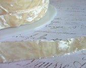 """Classic Ivory Crushed Velvet Ribbon, Approx 5/8"""" wide"""