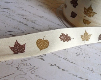 Natural Cotton Canvas 3/4 inch wide, Two Tone Fall Leaves