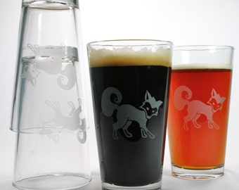 4 Fox Etched Pint Glasses - gift Set of 4