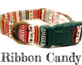 "Christmas Striped Dog Collar - Organic Cotton - Antique Brass Hardware - ""Ribbon Candy"""