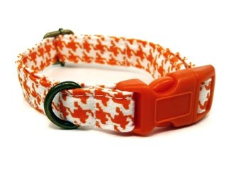 The Pumpkin - Organic Cotton CAT Collar Breakaway Safety Houndstooth Orange - All Antique Brass Hardware