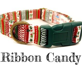 "Christmas Striped Dog Collar - Organic Cotton - Antique Brass Hardware - ""Ribbon Candy"""