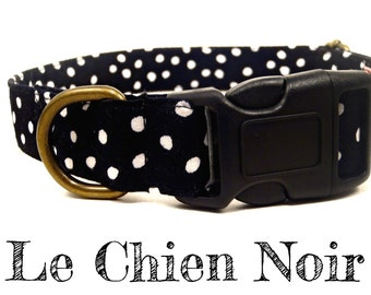 "Dog Collar - Polka Dot Dog Collar - Black Dog Collar - Organic Cotton - Antique Brass Hardware - ""Le Chien Noir"""