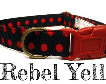 "Black Red Polka Dot Dog Collar - Organic Cotton - Antique Brass Hardware - ""Rebel Yell"""