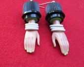Tri Bangled - upcycled Barbie Doll Hand earrings -