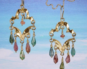 ISABELLA CHANDELIER - OOAK - One Of A Kind 14k Gold Solid Cast Earrings With Watermelon Tourmaline