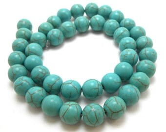 42 Turquoise Beads 10MM round howlite bead (H7000)