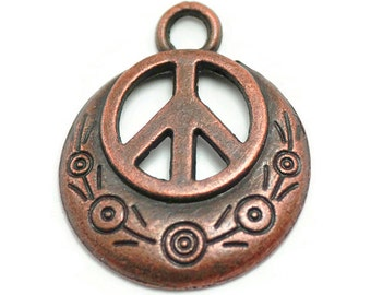 5 Peace Sign Charms Copper Tone Metal (S430)