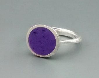 Opaque Grape Purple and Sterling Silver Ring