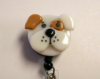 Bull Dog Retractable Badge Holder Fused Glass.