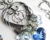 Keep My Blue Heart Close - London Blue Topaz, Aquamarine, Blue Topaz, and Sapphire in Sterling Silver
