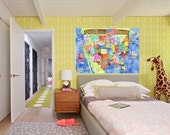 USA Map for kids playroom or nursery! Stretched canvas print of HUGE 40 x 30 inch in BLUE