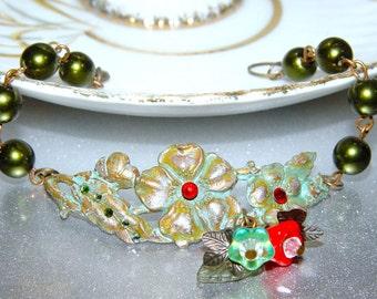 Sakura - Hunter Green Pearl and Verdigris Brass Cherry Blossom Bracelet