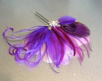 Lavender Purple Peacock Feather Fascinator Comb Bridal Wedding Hair Piece