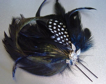Pettite Black Spotted Feather Side Comb Fascinator Hair Pin Clip