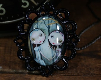 Steampunk Pop Surrealism Lowbrow Sisters Print Necklace
