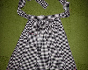 Vintage Cotton Black White Gingham Red Chicken Scratch Embroidered Apron, 50s 60s