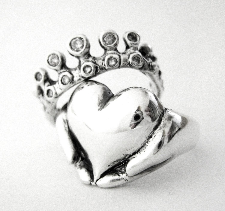 Rockabilly Claddagh Wedding Set New Sterling Silver and