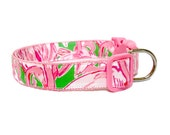 Dog Collar Made from Lilly Pulitzer 2015 Pink Colony Fabric on Pink Size: Your Choice