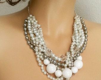 Chunky Pearl Necklace Wedding, Chunky Bridal Pearl Necklace, Large Pearl Necklace Jewelry, Grey and White Pearl Necklace, Wedding Jewelry