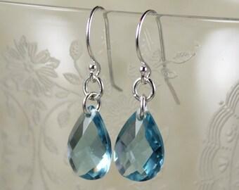 Vintage Blue Topaz Glass Teardrop Sterling Silver Earrings