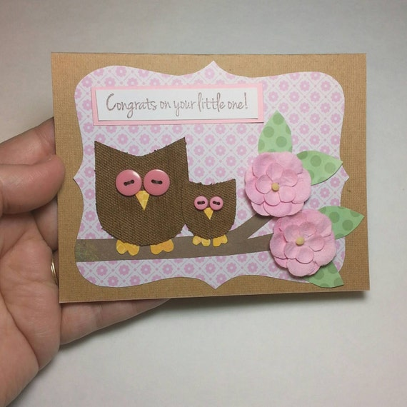 Baby Girl Congratulations Card, New Baby Card, Welcome Baby Girl, Greeting Card for Baby