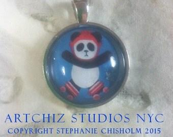 Roller Derby Panda Art Jewelry - Real Glass - 1 Inch Circle Bezel Pendant - Cute Animal  - Roller Derby Panda
