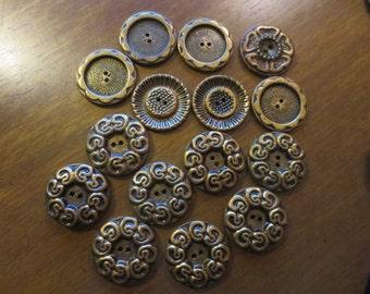SALE Vintage 1950s 60s Brass Metal Buttons for Coat 15 pcs