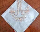 Vintage Monogram M Handkerchief with Beautiful Tan Madeira Embroidery