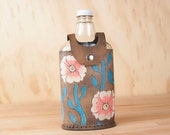 Leather and Glass Flask - Vintage Style - 375ml Flask - Handmade Flask - Aurora pattern with Flowers and vines - Pink and turquoise - Flower