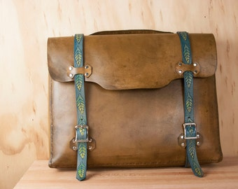 Handmade Leather Briefcase - For Men or Women - Adam Pattern with Carved Leaves in blue and antique brown