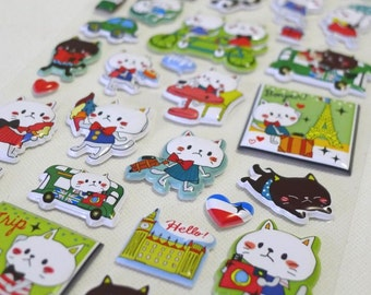 Cute Puffy Japanese Glossy Stickers  - Animal Fun - Kitty Paris Honeymoon (1301) by Mind Wave Inc.