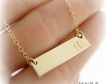 Gold Bar Necklace. Personalized Bar Necklace. Gold Bar Initial Necklace. Mom Necklace