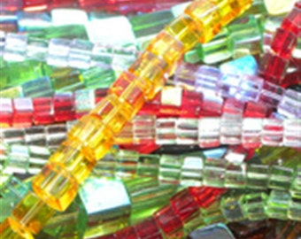 4mm Glass Cube Beads (1) Strand Various Colors Available or loose mix of colors