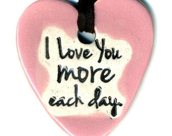 I Love You More Each Day Ceramic Necklace in Pink