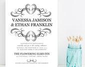 Elegant Flourish Wedding Invitations - Black and White, Traditional, Classy Wedding Invitaiton